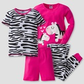 Gerber Toddler Girls' 4-Piece Zebra PJ Set - Pink
