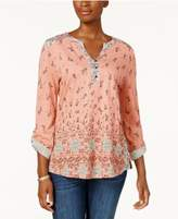 Style&Co. Style & Co Printed Roll-Tab-Sleeve Top, Created for Macy's