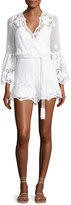 Miguelina Genie Belted Lace Romper, Pure White