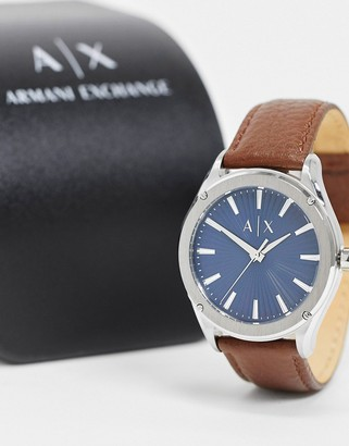 Armani Exchange Fitz brown leather strap watch