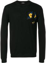 Fendi butterfly detail sweatshirt - men - Lamb Skin/Polyester/Wool - 50
