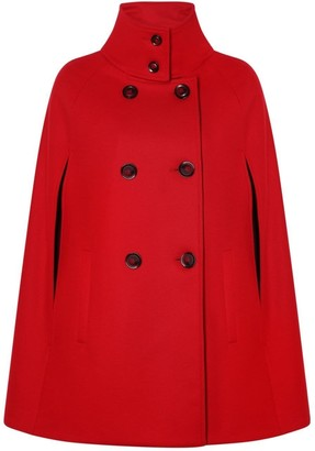 Allora Wool Cashmere Double Breasted Cape - Poppy Red
