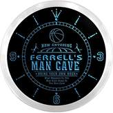 AdvPro Clock ncqc1859-b FERRELL'S Basketball Mave Cave Den Beer Bar LED Neon Sign Wall Clock