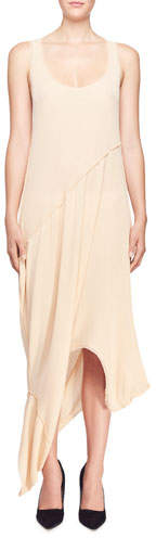 Stella McCartney Rib-Knit Reversible Long Draped Sheath Dress