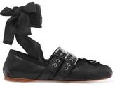 Miu Miu Lace-up Leather Ballet Flats - Black