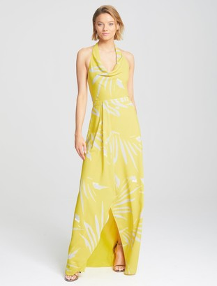 Halston Printed Cowl Gown