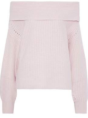 Equipment Ruth Off-the-shoulder Waffle-knit Wool And Cashmere-blend Sweater