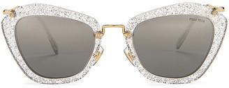Miu Miu Cat Eye Sunglasses in Glitter Silver | FWRD