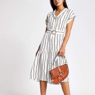 River Island Womens White chain print midi shirt dress