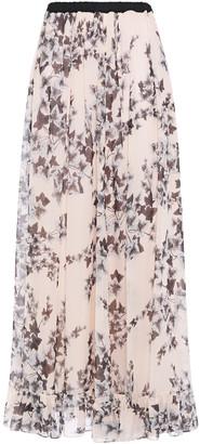 Philosophy di Lorenzo Serafini Pleated Floral-print Crepe De Chine Maxi Skirt