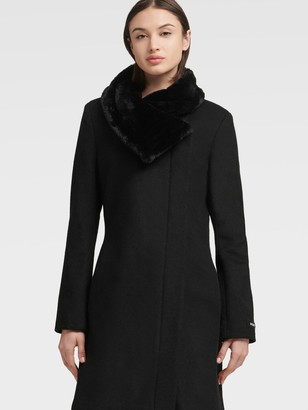 DKNY Asymmetrical Coat With Faux Fur Collar