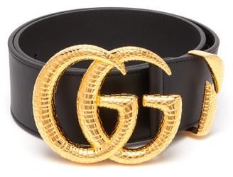 Gucci Snakeskin-effect Gg-logo Leather Belt - Womens - Black