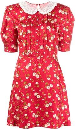 Miu Miu Floral-Print Puff-Sleeve Dress