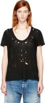 Unravel Black Distressed Basic T-Shirt