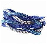 AKOAK 6 Rows Multi-layer Intersect Leather Bracelet Crystal Cross Skin Bracelet Bangles?Blue?