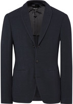 Giorgio Armani Blue Ginza Slim-Fit Textured-Knit Blazer