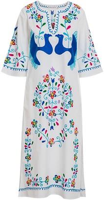 Ada Kamara Bird Embroidery Dress In White Blue