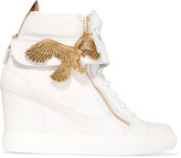 Giuseppe Zanotti Embellished textured-leather wedge sneakers