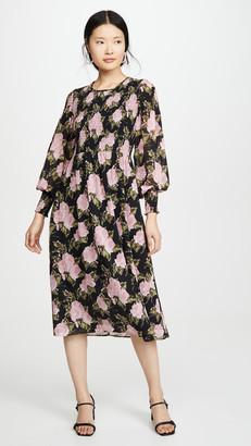 WAYF Crushed Smocked Bodice Midi Dress