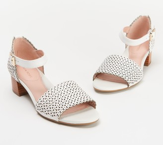 Taryn Rose Perforated Leather Heeled Sandals - Marina
