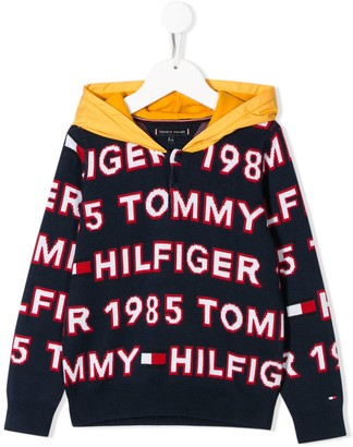 Tommy Hilfiger Junior Long Sleeve All Over Logo Hoodie