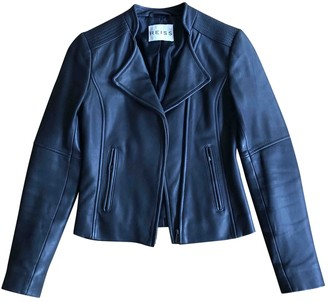 Reiss Black Leather Leather Jacket for Women
