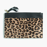 J.Crew Large pouch in Italian calf hair