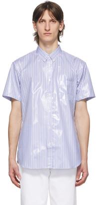Comme des Garcons Blue Laminated Poplin Striped Shirt