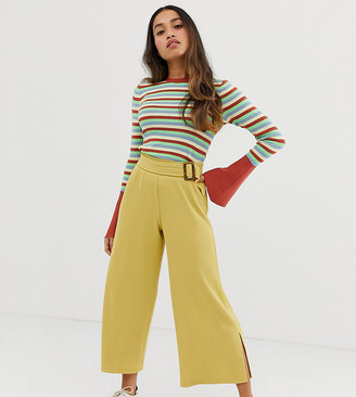 Asos DESIGN Petite wide leg culotte in textured rib with tortoiseshell buckle-Yellow