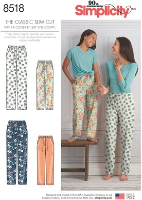 Simplicity Children and Women's Slim Fit Lounge Trousers Sewing Pattern, 8518