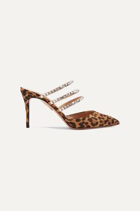 Aquazzura Donata 85 Swarovski Crystal-embellished Leopard-print Suede Mules - Leopard print