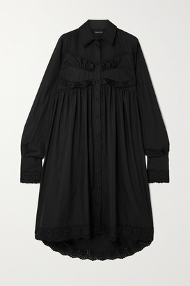Simone Rocha Broderie Anglaise Cotton-poplin Midi Dress - Black