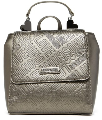 Love Moschino Logo Embossed Metallic Rucksack