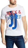 La Redoute Jack & Jones Mens Mix Short-Sleeved Crew Neck T-Shirt Blue Size M