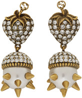 Gucci Gold Studded Pearl Strawberry Earrings