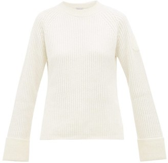 Moncler Logo-patch Wool-blend Sweater - Womens - Ivory
