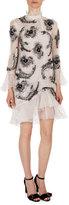 Erdem Constance Ruffle-Trim Beaded Dress, White/Silver