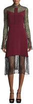 Prabal Gurung Long-Sleeve Lace Combo Dress, Burgundy