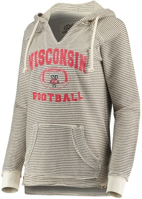 Women's Blue 84 Cream Wisconsin Badgers Striped Football V-Neck Raglan Pullover Hoodie