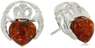 Celtic Amber Sterling Silver Heart Stud Earrings