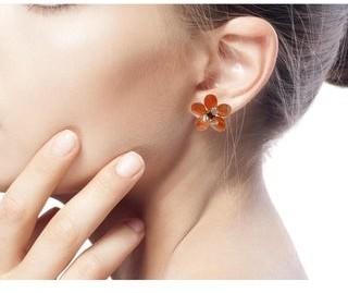 Novica Handmade 'Honey Flower' Carnelian Button Earrings