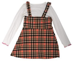 Colette Lilly Girls 4-12 Plaid Skirtall and Long Sleeve T-Shirt