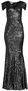 Michael Kors Women's Gathered Cap-Sleeve Sequin Gown