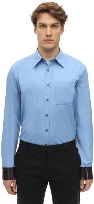 Salvatore Ferragamo Cotton Shirt W/ Leather Cuffs