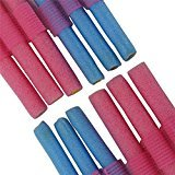 12Pcs Soft Foam Curlers Makers Bendy Twist Curls Tool DIY Styling Hair Rollers 6 Blue + 6pcs Pink