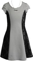 Girls 7-16 Emily West Lace Side Striped Skater Dress with Necklace