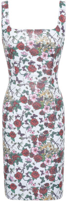 Black Halo Sequined Floral-print Stretch-jersey Mini Dress