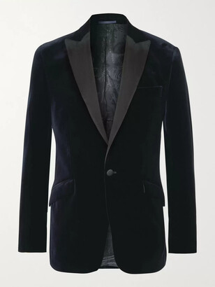 Favourbrook Fawn Slim-Fit Grosgrain-Trimmed Cotton-Velvet Tuxedo Jacket - Men - Blue