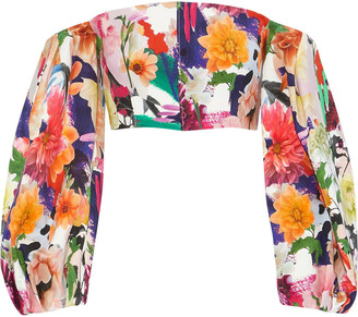 Cushnie Off-the-shoulders Cropped Floral-print Cady Top