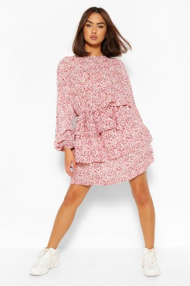 boohoo Floral Open Back Tiered Skater Dress
